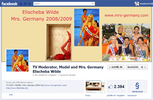 Elischebas MrsGermany Fanpage bei Facebook