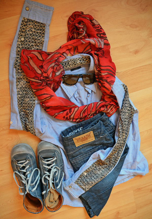 blau rot Outfit