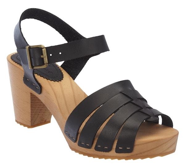 Pepe Jeans Sandalette aus schwarzem Leder mit Holzsohle