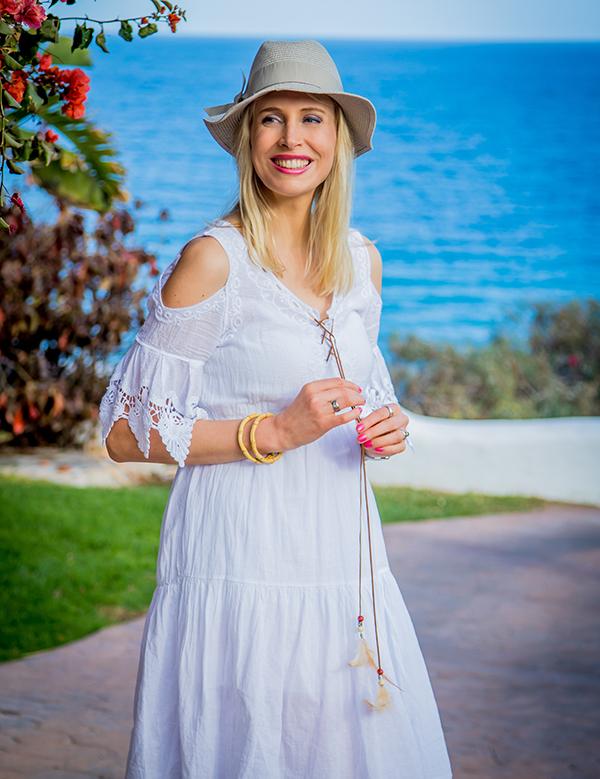 Ibiza Look Hippie weißes Kleid