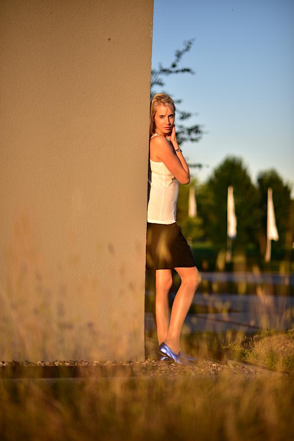 blaue flache Schuhe